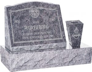 20″ x 10″ x 16″ Serp Top Slant Headstone polished front and back with 30″ Base and square tapered Vase