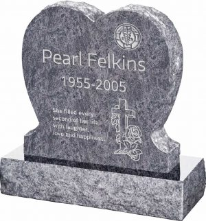 Single Heart Upright Headstone polished front and back with 30″ Base