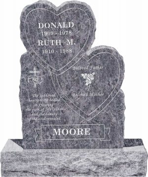 Double Heart Upright Headstone polished front and back with 34″ Base