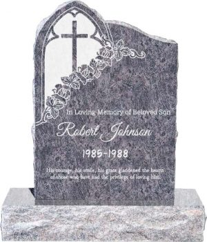 Gothic Upright Headstone polished front and back with 34″ Base