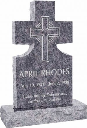 Cross Upright Headstone polished front and back with 34″ Base