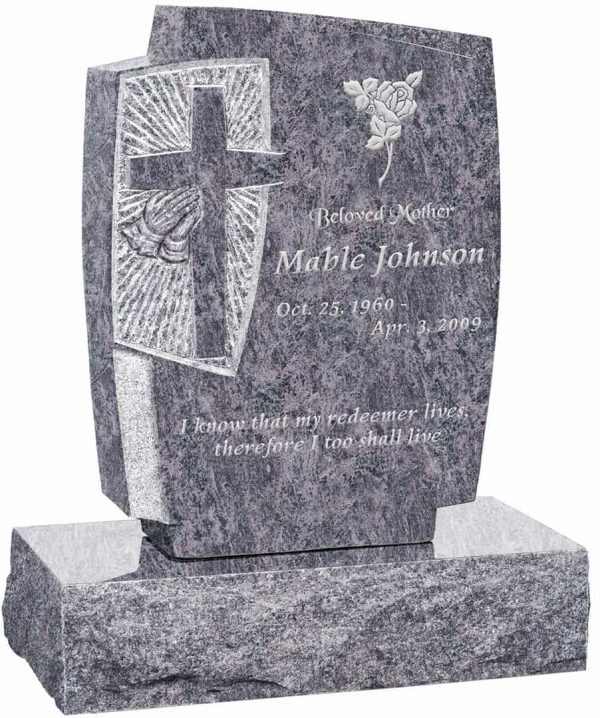 Carved Cross and Praying Hands Upright Headstone polished all sides with 24″ Base
