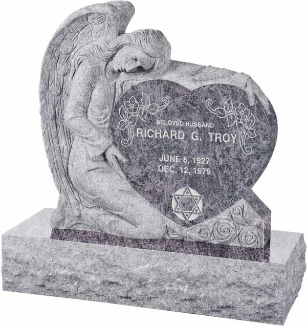 Angel with Heart Upright Headstone polished all sides with 40″ Base