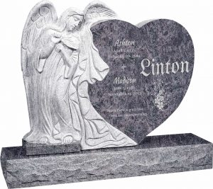 Leaning Angel Heart Upright Headstone polished all sides with 48″ Base